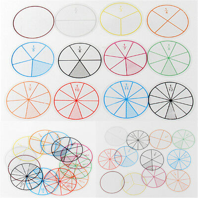 12pc Math Fraction Circles For Children Kids Student School Educational Toy HG • 3.88£