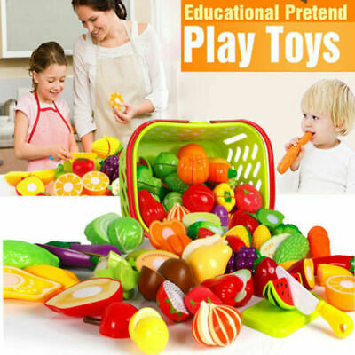 Toy Play Fruit Food Pretend Vegetable Kitchen Cutting Set Role Kids Child GR HG • 5.47£