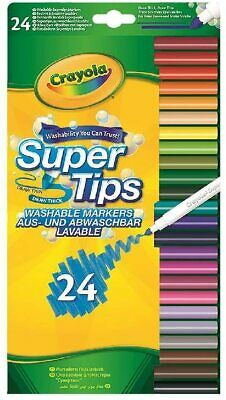 Crayola SuperTips Washable Felt Tip Colouring Pens, Pack Of 24 • 6.99£