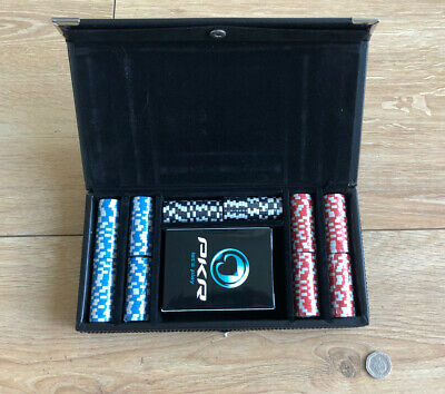 Miniature Travel PKR Poker Chip Set Leather Case 200 Chips 3 Colours 1 Deck New • 26.95£