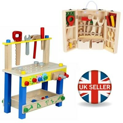 Childrens Kids Wooden Workbench Construction Work Bench Tool Set Play Toy Gift • 23.99£