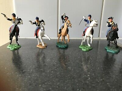 Vintage Timpo Mounted 7th Calvary American Civil War White Gloved Yankees X 5 • 170£