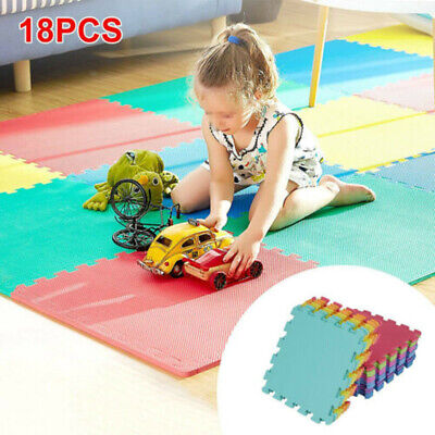 18Pcs Large EVA Foam Mat Mats Soft Floor Tiles Interlocking Play Kids Baby Gym • 15.59£