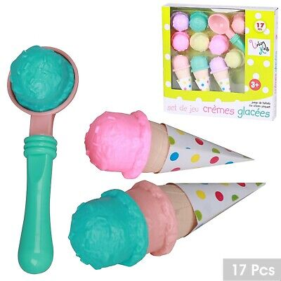 Kids Ice Cream Play Set Pretend Play Cones Scoops Food Toy Playset 17pc Parlour • 7.99£