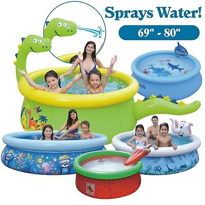 "Large Water Spraying 3D Inflatable Novelty Round Kids Paddling Pool 69"" – 80"" • 30.99£"