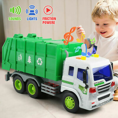 Friction Powered Garbage Truck Toy With Lights & Sounds For Kids Dumper Lorry • 13.99£