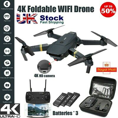 Drone X Pro WIFI FPV 4K HD Camera Foldable Selfie RC Quadcopter With 3 Battery • 38.99£