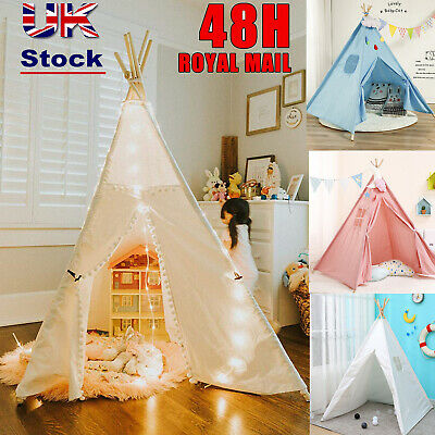 Large Teepee Canvas Children Indian Tent Kids Wigwam Indoor Outdoor Play House • 26.95£