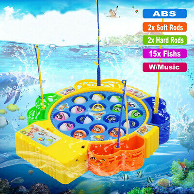 Kids Fishing Game Toy Electric Music Rotating Catch Toys Set • 8.99£