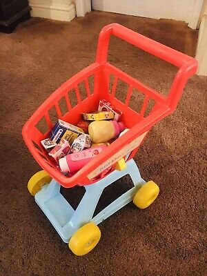 Child Kids Toy Shopping Trolley Cart & Food Accessories • 2.99£