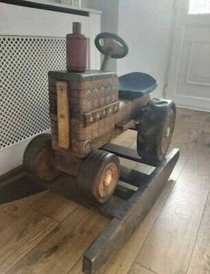 Solid Carved Rocking Wooden Tractor • 210£