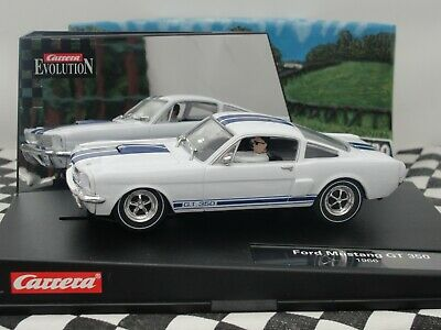 Carrera Evo Ford Mustang Gt350  '1965' White/blue 1:32 Slot Used Boxed • 10.50£