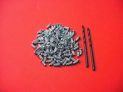 100 X 2mm SOLID  BASEPLATE RIVETS + 2 DRILL BITS FOR SMALL SCALE DINKY/CORGI ETC • 6.50£