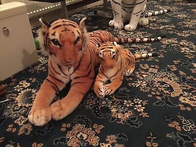 Very Large Soft Toy Tiger With Cub Baby Plush Animal Cat Big • 26£