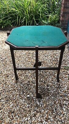 Vintage Revertable Oak Card Table, Games Table, Reversible And Folding • 39.99£