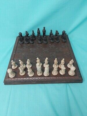 Wooden Based Chess Set With Full Set Of Pieces  Black And Cream #875 • 6.50£
