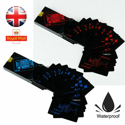 High Quality Black Plastic PVC Poker Waterproof Magic Playing Cards Table Game • 2.99£