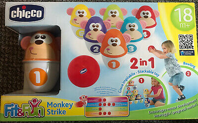CHICCO MONKEY STRIKE BOWLING SET - Perfect For Indoors With Kids - Learn & Play • 8.99£