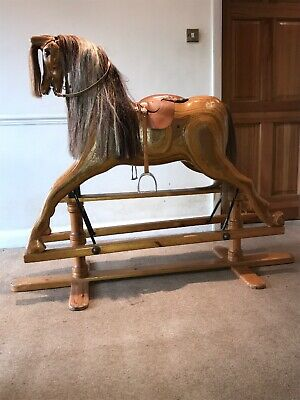 Rocking Horse Hand Crafted Wooden Large Wood Real Horse Hair Vintage Quality • 2,795£