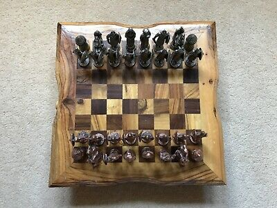 Real Wooden African Handmade Chess Board With Metal Pieces • 7.10£