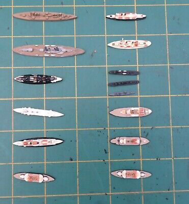 1/3000 Scale Painted Ships X 14 Includes WW1 Kynaz Suvorov Benbow Dreadnought • 12.99£