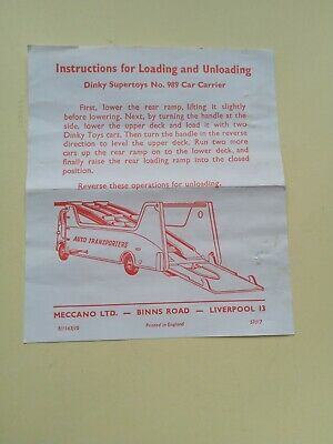 Rare Dinky 989 Car Transporter Instructions Only • 275£