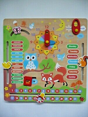Children's Wooden Activity Calendar - Deluxe Colourful Wooden Toy For Ages 3+.  • 5.99£