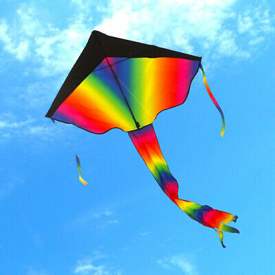 Colorful Rainbow Kite Outdoor Flying Toys Kids Adults Great Beginner Kite + Line • 7.49£