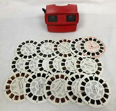 Vintage Red 3D Viewmaster With 16 Various Slide Reels Includes Spider-Man #842 • 8.50£