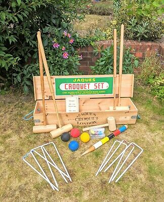 Jaques Of London Vintage Croquet Set No. 125  Four Player  With Rule Book • 375£
