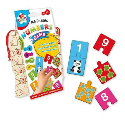 Kids Create Matching Numbers Game In A Cloth Bag Storage Bag New - MDOM • 2.75£
