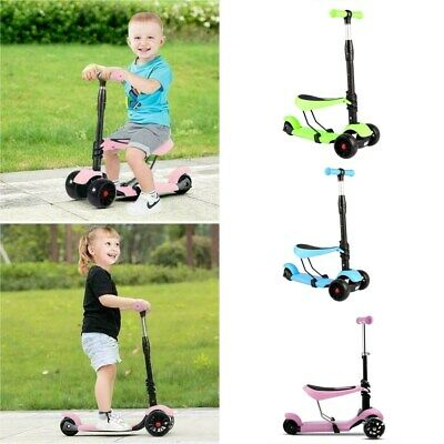3 In 1 Kids Scooter Kick Adjustable Seat 3 Wheels LED Boys & Girls Push Scooter • 23.99£