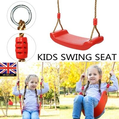 Garden Swing Seat With Height Adjustable Ropes Kids Climbing Frame Set Red • 11£
