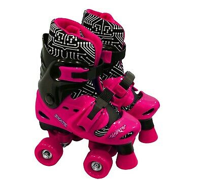 Elektra Quad Boot Adjustable Medium Black & Pink 13j-2 -skates • 29.99£