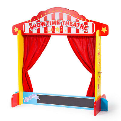 Bigjigs Toys Wooden Table Top Theatre Puppets Show Stage Window Roleplay • 25.99£