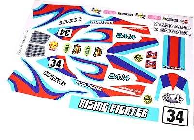 Retro Race Car Livery BLUE Vinyl Stickers Fits Tamiya Rising Fighter R/C Buggy • 9.95£