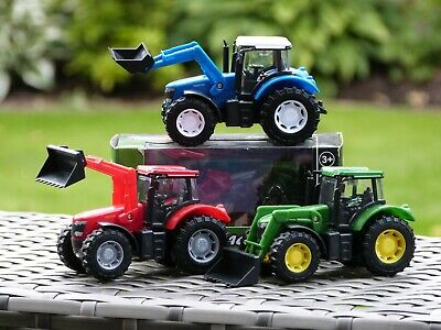 1:43 Diecast Toy Tractor - Free Wheeling Farm Vehicle With Adjustable Scoop. • 9.99£