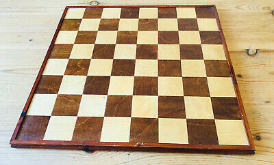 Large Vintage Wooden Chess Board, 45.5cm, 55mm Squares • 75£