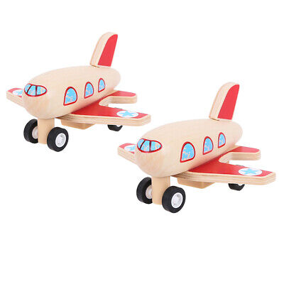Bigjigs Toys Wooden Pull Back Planes (Pack Of 2) Traditional Stocking Fillers • 8.98£