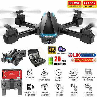 Foldable GPS WIFI FPV 5G 4K Wide Angle HD Camera RC Drone Quadcopter 360° Aerial • 97.99£