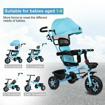 Baby Kids Ride On Trike Tricycle Toddler 3 Wheels Bike With  Canopy&Push Safety • 50.99£