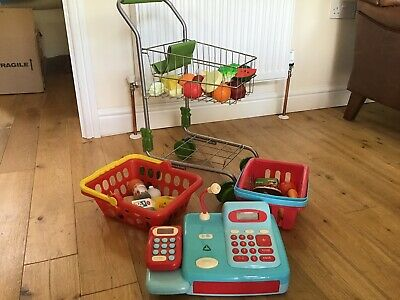 Waitrose Toy Shopping Trolley, ELC Till, Wooden & Plastic Play Food VGC • 20£