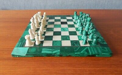 Vintage Malachite & Marble Complete Chess Board And Pieces - 20cm Square Board • 89.97£