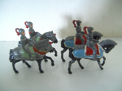 Cherilea Lead Knight Horse Mounted Medieval Soldier X4 • 9.95£