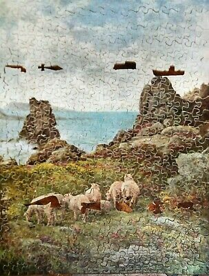 A Large Victory Vintage Wooden Jigsaw Puzzle - 'sheltered Pastures' • 25£