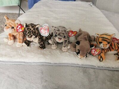 TY Bundle 5 Beanie Babies Mint Condition. Canyon, Amber, India, Sneaky & Silver • 3.20£
