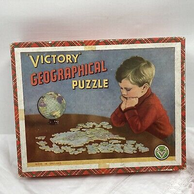 Vintage/retro Victory Geographical Puzzle England Wales Wooden Approx 100 Piece • 7.99£