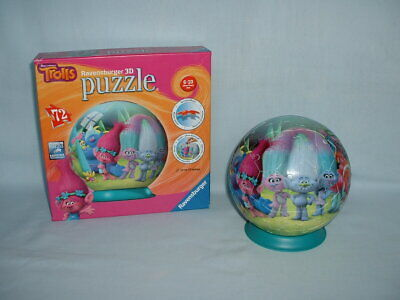 DREAMWORKS TROLLS THE MOVIE 3D Puzzle Ball 72 Piece Jigsaw By RAVENSBURGER (2) • 4.99£