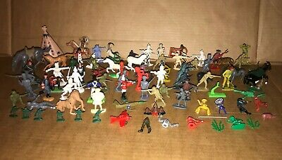 Bundle Of Old Plastic Toy Soldiers - World War, Cowboys, Horses, BRITAINS OTHERS • 19.99£