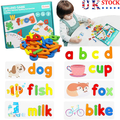 Early Education English Spelling Toys Wooden Cardboard Alphabet Game Educational • 9.39£